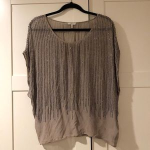 Joie Tops - Joie grey beaded blouse